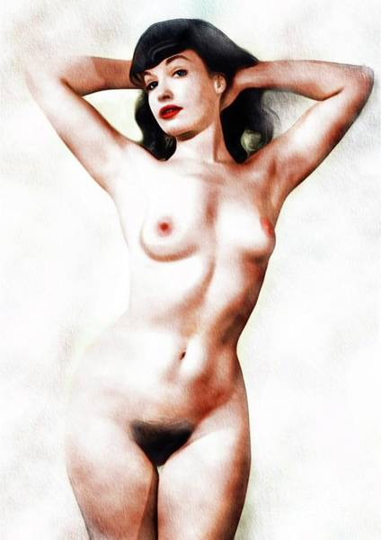 Bondage Wall Art - Painting - Bettie Page, Vintage Nude Pinup by Frank Falcon