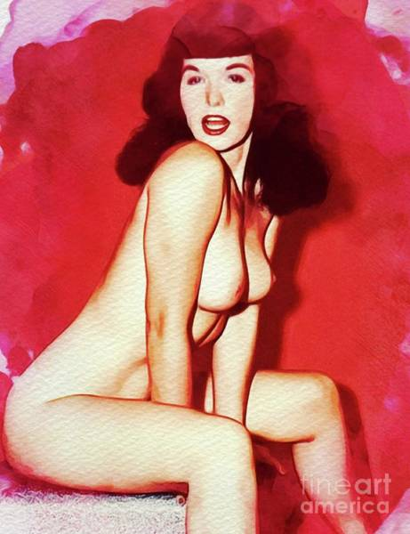 Naturist Wall Art - Painting - Bettie Page - Vintage Pinup by Frank Falcon