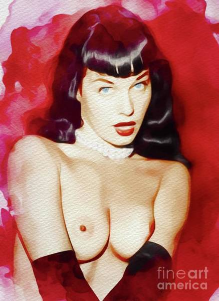 Wall Art - Painting - Bettie Page, Vintage Pinup Star by Frank Falcon