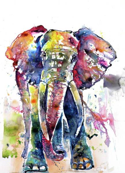 Wall Art - Painting - Big Colorful Elephant by Kovacs Anna Brigitta