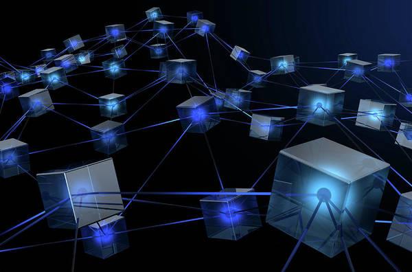 Wall Art - Digital Art - Blockchain Data Network by Allan Swart