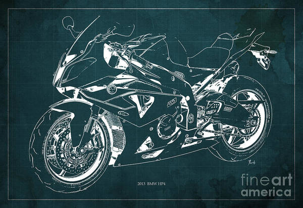 Bmw Painting - Bmw Hp4 2013 Blueprint Motorcycle, White Line, Vintage Background by Drawspots Illustrations