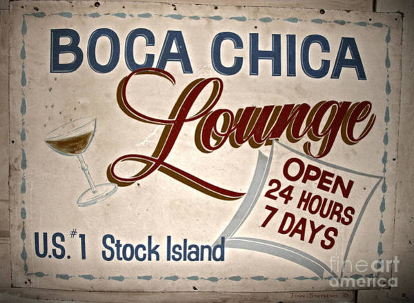 Cocktail Lounge Photograph - Boca Chica Lounge Sign Stock Island Florida Keys by John Stephens