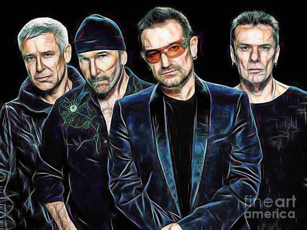 Wall Art - Mixed Media - Bono U2 Collection by Marvin Blaine