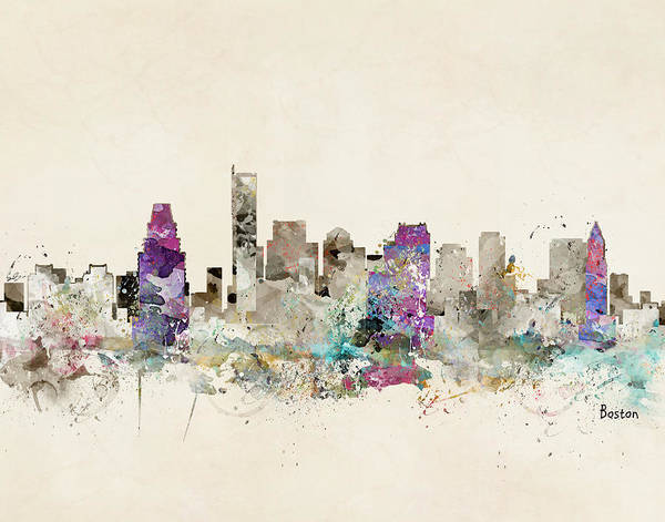 Massachusetts Painting - Boston City Skyline by Bri Buckley