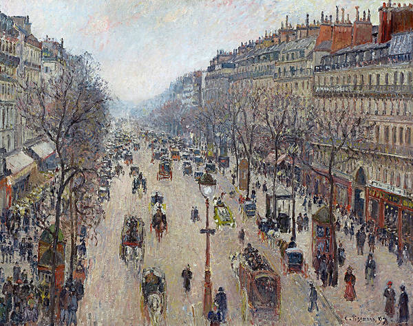 Boulevard Painting - Boulevard Montmartre, Morning, Cloudy Weather by Camille Pissarro