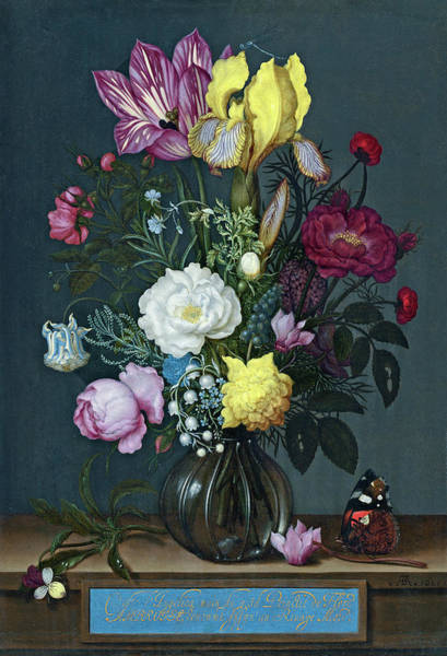 Painting - Bouquet Of Flowers In A Glass Vase by Ambrosius Bosschaert the Elder