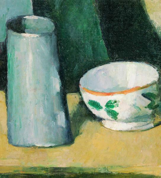 Apple Peel Wall Art - Painting - Bowl And Milk-jug by Paul Cezanne