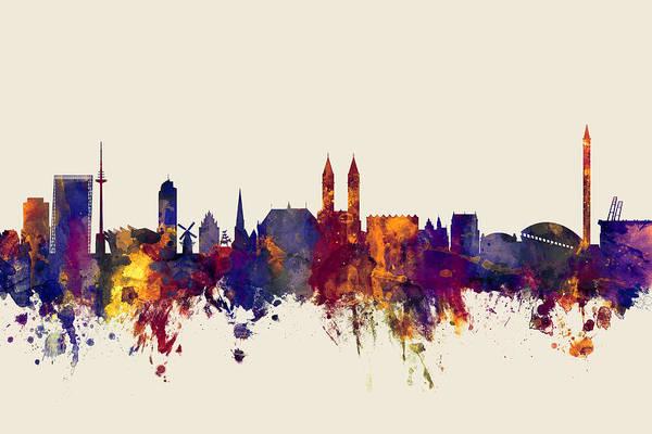 Bremen Wall Art - Digital Art - Bremen Germany Skyline by Michael Tompsett