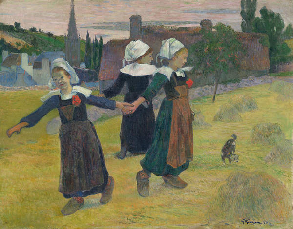 Impressionist Style Wall Art - Painting - Breton Girls Dancing by Paul Gauguin