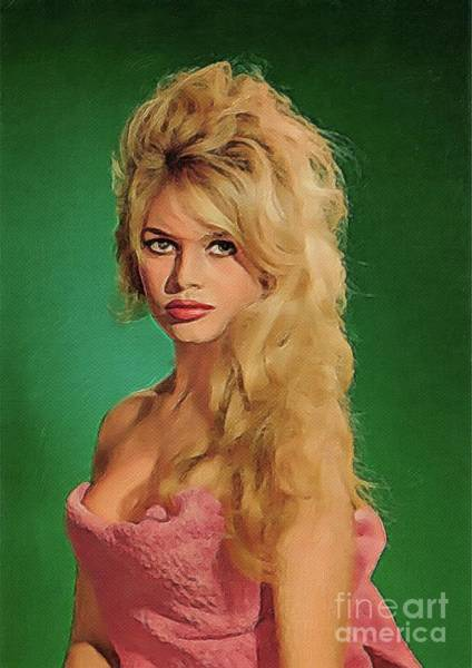 Screen Painting - Brigitte Bardot, Vintage Actress by John Springfield