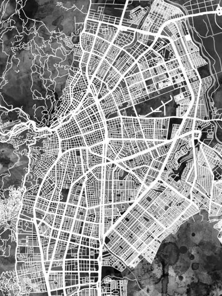 Santiago Wall Art - Digital Art - Cali Colombia City Map by Michael Tompsett