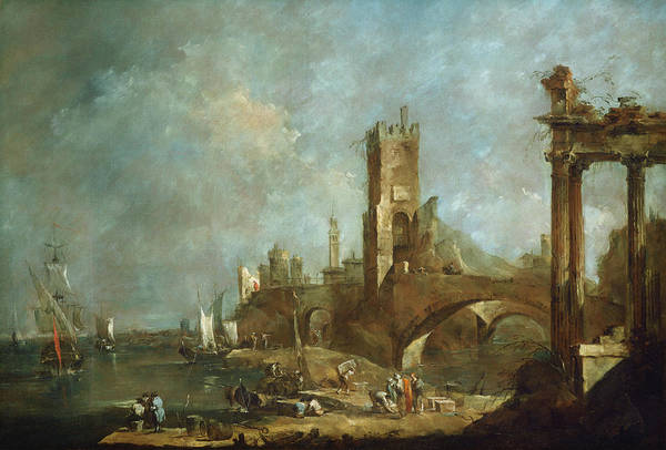 Painting - Capriccio Of A Harbor by Francesco Guardi