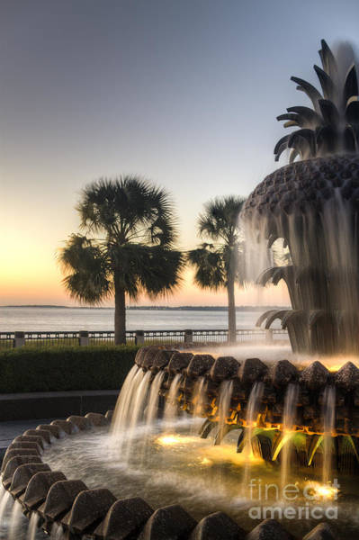 Photograph - Charleston Pineapple Fountain Sunrise by Dustin K Ryan