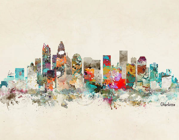 Charlotte Wall Art - Painting - Charlotte North Carolina by Bri Buckley