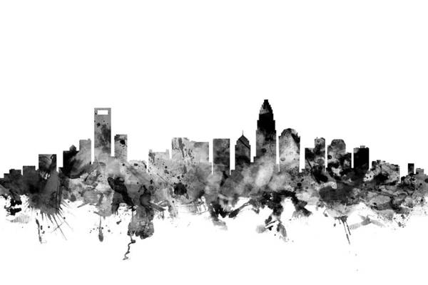Charlotte Wall Art - Digital Art - Charlotte North Carolina Skyline by Michael Tompsett