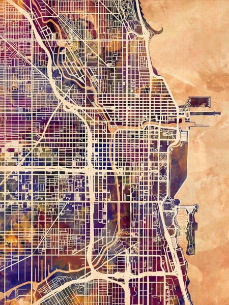 Watercolor Map Wall Art - Digital Art - Chicago City Street Map by Michael Tompsett