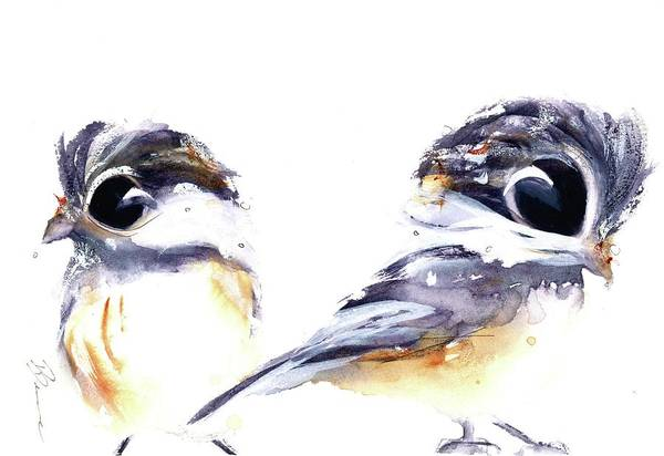 Painting - 2 Chickadees by Dawn Derman