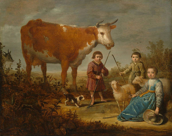 Cuyp Wall Art - Painting - Children And A Cow by Aelbert Cuyp