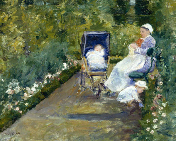 Wall Art - Painting - Children In A Garden, The Nurse by Mary Cassatt