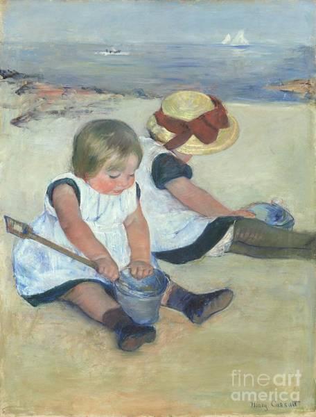 Wall Art - Painting - Children Playing On The Beach by Mary Cassatt