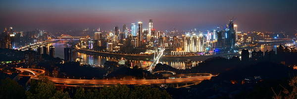Photograph - Chongqing Urban Architecture At Night by Songquan Deng