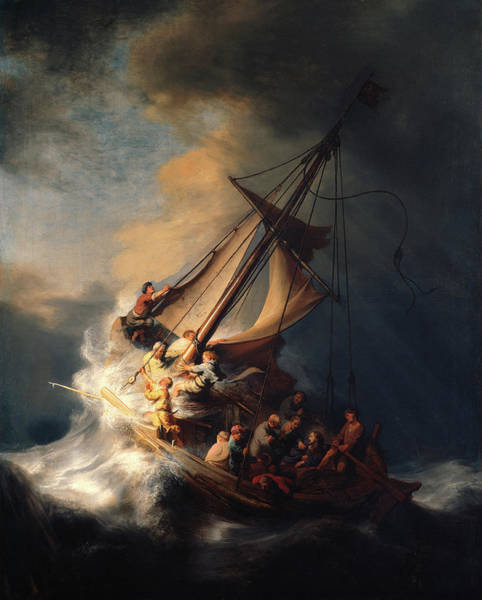 Wall Art - Painting - Christ In The Storm On The Lake Of Galilee by Rembrandt van Rijn
