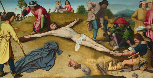 Redeemer Wall Art - Painting - Christ Nailed To The Cross by Gerard David