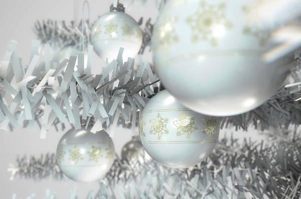 Bauble Digital Art - Christmas Decor White by Allan Swart