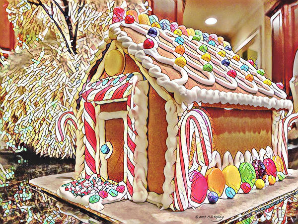 Thanksgiving Dinner Digital Art - Christmas Gingerbread House by Andrew Kelley