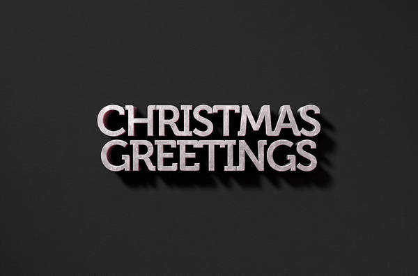 Christmas Celebration Digital Art - Christmas Greetings Text On Black by Allan Swart