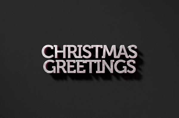 Festive Digital Art - Christmas Greetings Text On Black by Allan Swart
