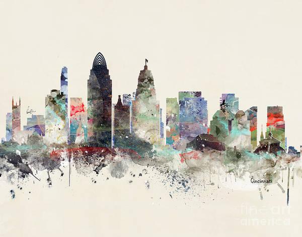 Cincinnati Wall Art - Painting - Cincinnati Ohio Skyline by Bri Buckley