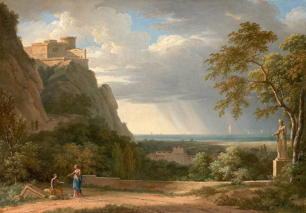 Wall Art - Painting - Classical Landscape With Figures And Sculpture by Pierre-Henri de Valenciennes