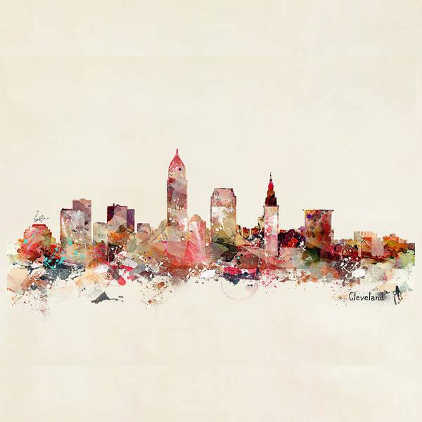 Ohio Wall Art - Painting - Cleveland Ohio Skyline by Bri Buckley