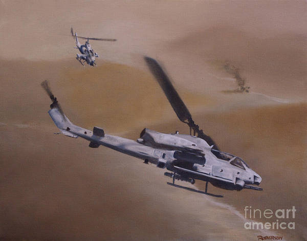 Helicopter Painting - Close Air Support by Stephen Roberson