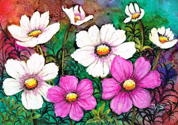 Painting - Colorful Cosmos by Val Stokes