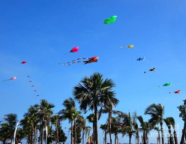 Kite Festival Wall Art - Photograph - Colorful Kites During Beach Festival by Yali Shi