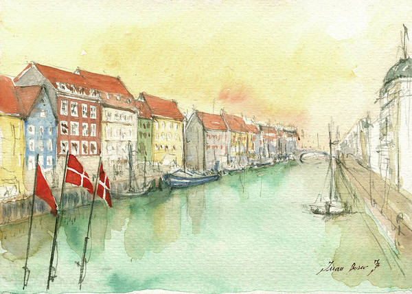 Wall Art - Painting - Copenhagen by Juan Bosco