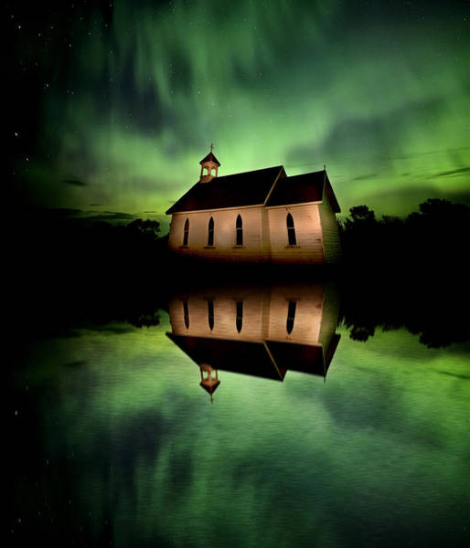 Wall Art - Photograph - Country Church And Northern Lights by Mark Duffy