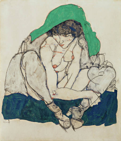 Expressionism Drawing - Crouching Woman With Green Headscarf  by Egon Schiele