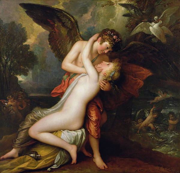 Awake Wall Art - Painting - Cupid And Psyche by Benjamin West