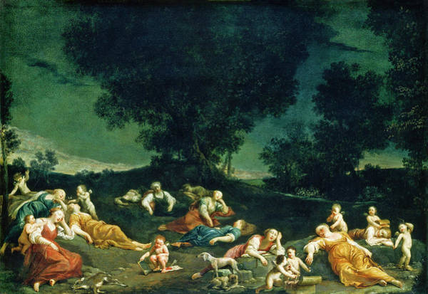 Painting -  Cupids Disarming Sleeping Nymphs by Giuseppe Maria Crespi