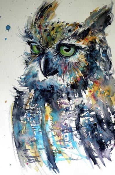 Owl Painting - Cute Owl by Kovacs Anna Brigitta