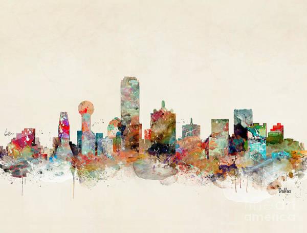 Office Decor Painting - Dallas Texas Skyline by Bri Buckley