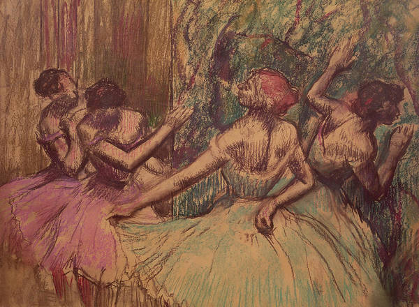 Wing Back Wall Art - Drawing - Dancers In The Wings by Edgar Degas
