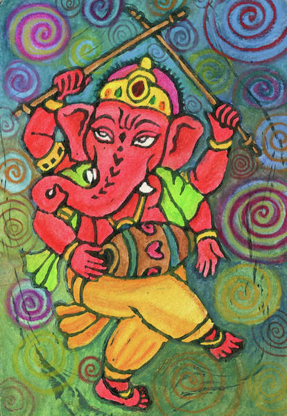 Sacred Mixed Media - Dancing Ganesha by Jennifer Mazzucco