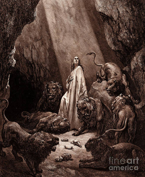 Miracle Drawing - Daniel In The Den Of Lions by Gustave Dore
