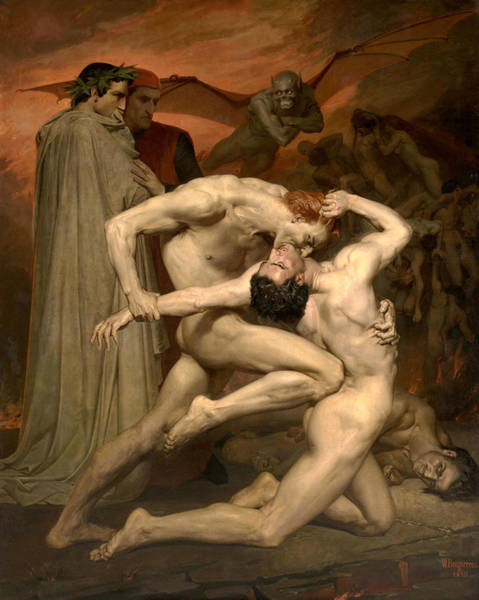 Inferno Painting - Dante And Virgil In Hell  by William-Adolphe Bouguereau