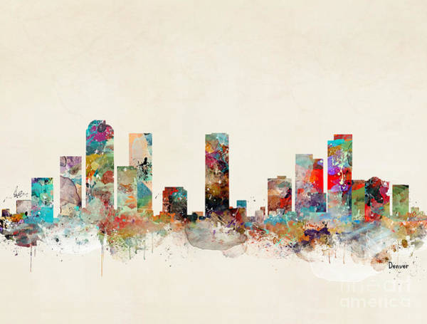 Colorado Landscape Painting - Denver Colorado Skyline by Bri Buckley